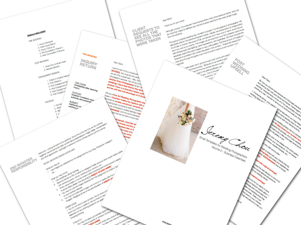 wedding photographers email template
