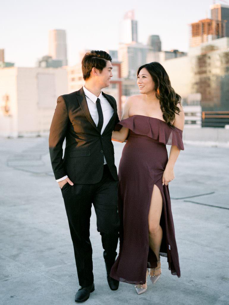 DOWNTOWN LOS ANGELES IN HOME ROOFTOP ENGAGEMENT SESSION-0026