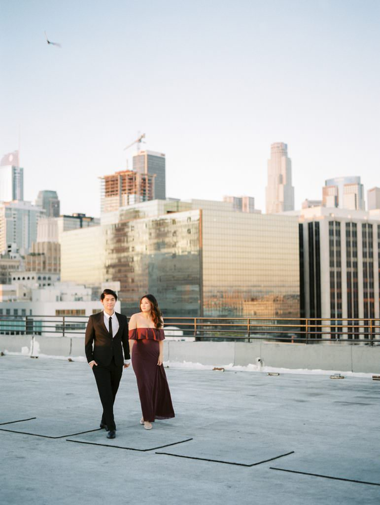 DOWNTOWN LOS ANGELES IN HOME ROOFTOP ENGAGEMENT SESSION-0036
