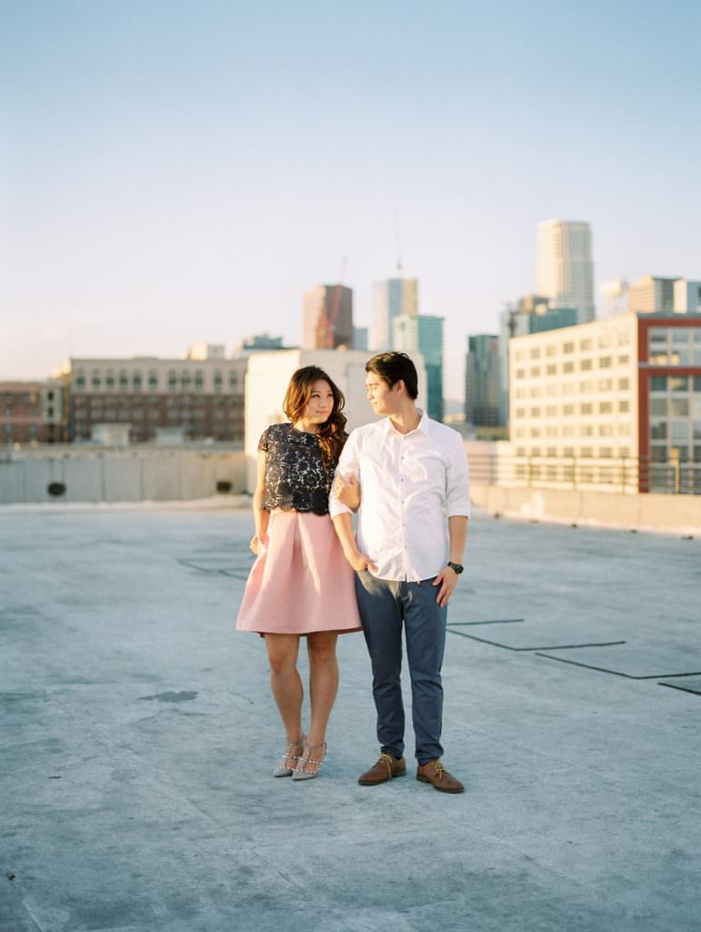 DOWNTOWN LOS ANGELES IN HOME ROOFTOP ENGAGEMENT SESSION-0039